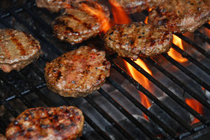 bison burgers on the BBQ