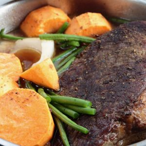 traditional pot-roast with carrots, beans and potatoes