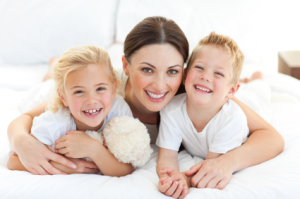 happy healthy mom and kids