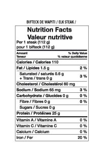 nutritional info elk top sirloin steak