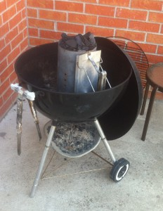 Weber Kettle ready for cooking buffalo steaks