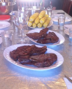 bison steaks on the table
