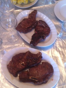 Bison steaks resting before carving the meat