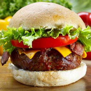 Bison Burger with cheese and tomato and lettuce