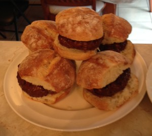 Elk burgers on ciabbata bread