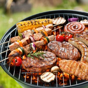 barbecue grill with lots of meat