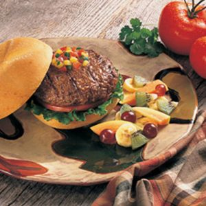 ostrich burger on a colourful plate