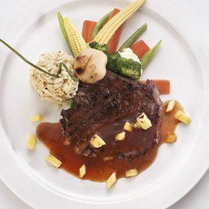 Ostrich steak with marinade