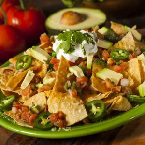Nachos with Bison or wild game meat and Avocaco