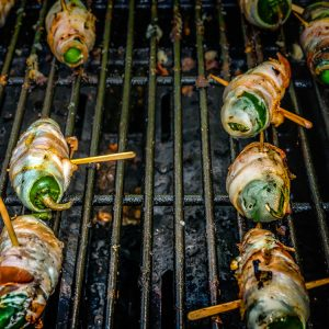 jalapeno peppers wrapped in wild boar bacon