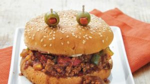 monster halloween sloppy joes using bison ground meat