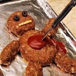 meatloaf of dead man with ketchup for blood for halloween dinner