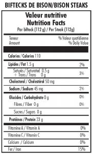 BISON STEAK NUTRITIONAL INFORMATION
