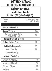 Nutritional information for Ostrich steaks