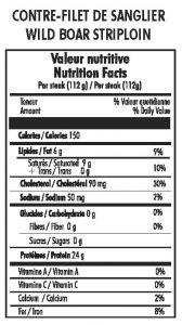 nutritional information for wild boar strip steaks
