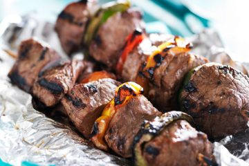 bison kebabs with vegetables