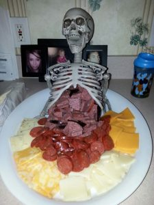 skeleton with cheese and sausage for halloween