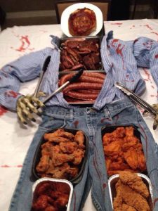 zombie man made from meat for halloween
