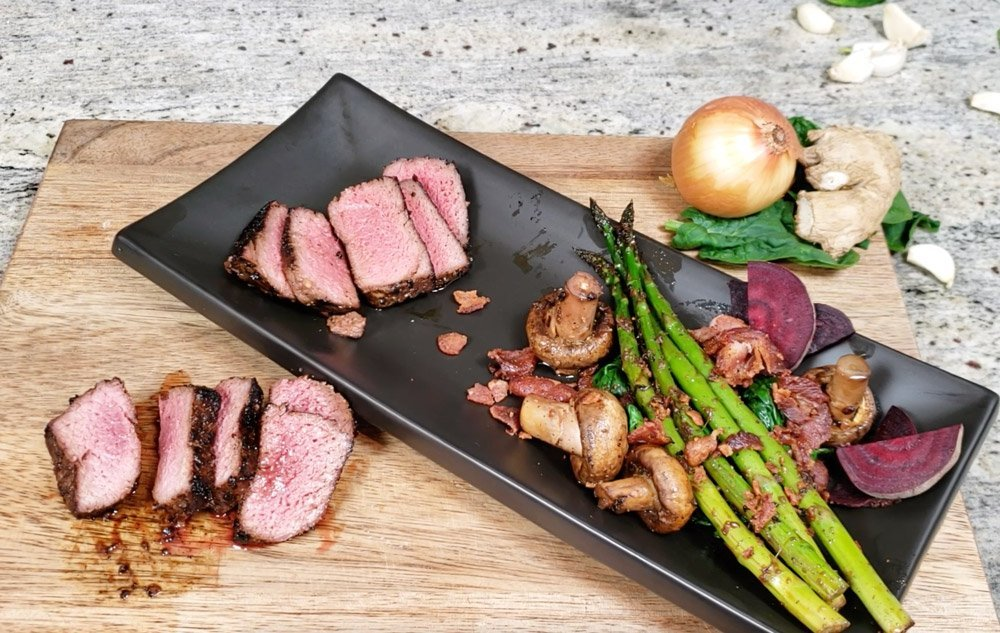 bison medallions with asparagus and spinach