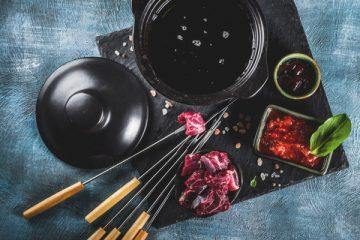 Bison Bourguignon fondue