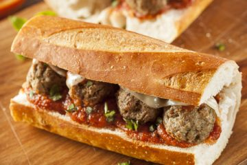 meatball submarine with marinara sauce
